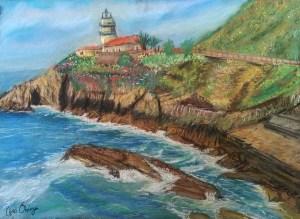 Faro Cudillero pintura pastel Clara Ortega Klartkraft