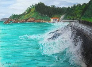 Playa del Aguilar pintada a pastel