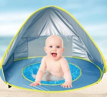 אוהל עם בריכה לתינוק לקיץ