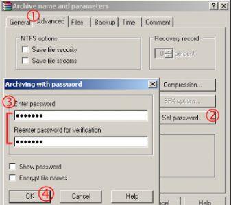 cara memberikan password file pada winrar