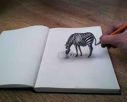 gambar 3d hewan di kertas