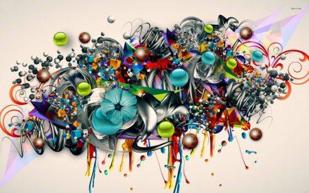 gambar grafiti 3d bunga abstrak