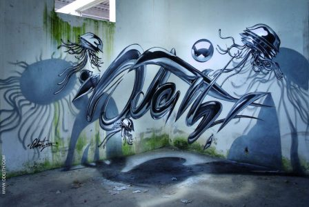 gambar grafiti 3d keren di tembok
