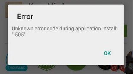 playstore error code 505