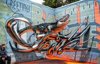 tulisan efek 3d grafiti
