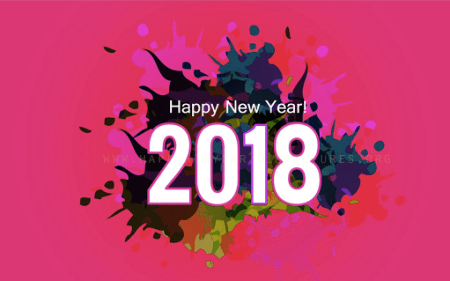 Wallpaper ucapan tahun baru 2018 3D