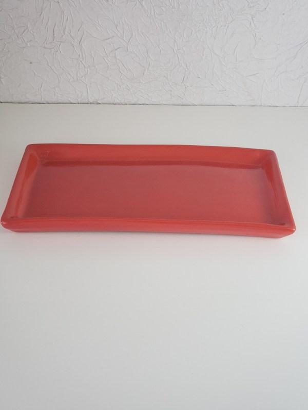 Bandeja cerâmica retangular cor Vermelho