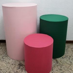 Capas para Trio mesas cilindro Cores Rosa/Verde/Pink