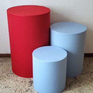 Capas para Trio mesas cilindro cores Azul/Vermelho