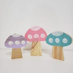 Trio Cogumelos Decorativos Madeira