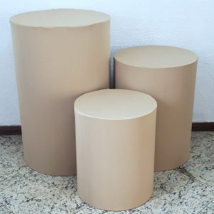 Capas para Trio mesas cilindro cor Bege