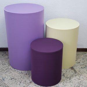 Capas para Trio mesas cilindro cores Lilás/Amarelo/Roxo