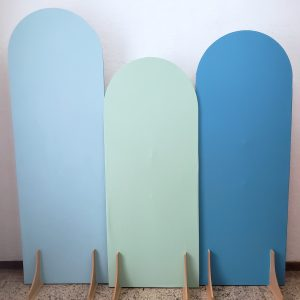 Painéis Desconstruídos Ovais com Tecidos cores Azul Claro/Azul Celeste/Verde Claro