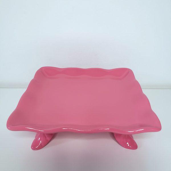 Bandeja Quadrada Babado Cerâmica Rosa Chiclete