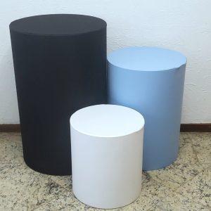 Capas para Trio mesas cilindro cores Preto/Azul Claro/Branco