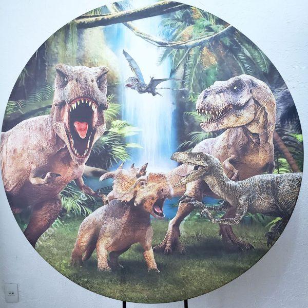 Suporte Redondo com Tecido Dinossauros Jurassic