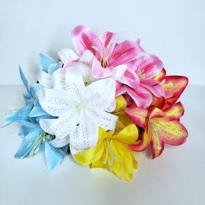 Buque Flores Artificiais Lírios Coloridos