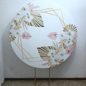 Suporte Redondo com Tecido Sublimado Geométrico Branco e Flores
