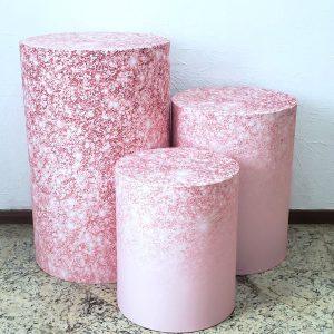Capas para trio mesas cilindro Tecido sublimado Rose Glitter