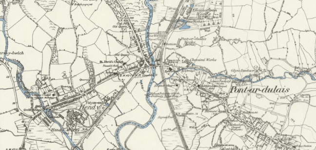 Map of Hendy and Pontardulais 1876-1878