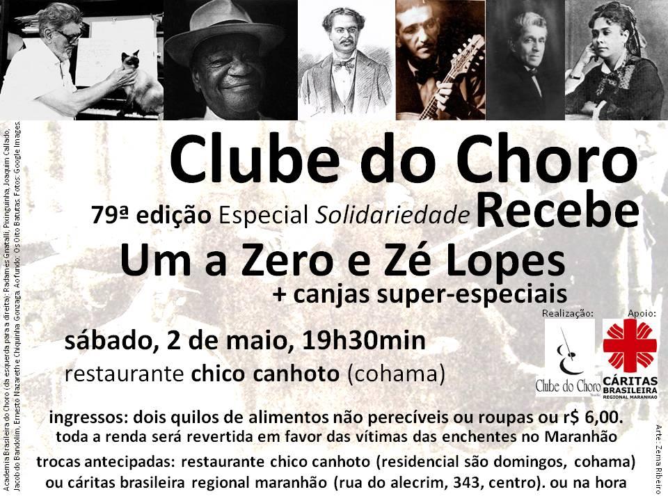 Em parceria com a Cáritas, o Clube do Choro promove sarau solidário. Arte: Zema Ribeiro