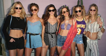 THERMAL, CA - APRIL 16: (L-R) Guest, Model Taylor Hill, Model Sara Sampaio, Model Alessandra Ambrosio, Model Josephine Skriver, and guest arrive at REVOLVE Desert House on April 16, 2016 in Thermal, California. (Photo by Ari Perilstein/Getty Images for A-OK Collective, LLC.)