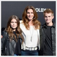 """ANAHEIM, CA - MAY 09: (L-R) Kaia Gerber, Cindy Crawford and Presley Gerber attend the premiere of Disney's """"Tomorrowland"""" at AMC Downtown Disney 12 Theater on May 9, 2015 in Anaheim, California. (Photo by Frazer Harrison/Getty Images)"""