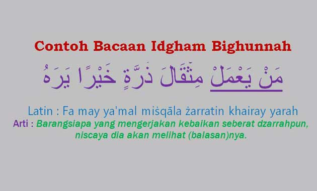 Contoh Bacaan Idgham Bighunnah dalam kalimat dan ayat alquran surat Pendek