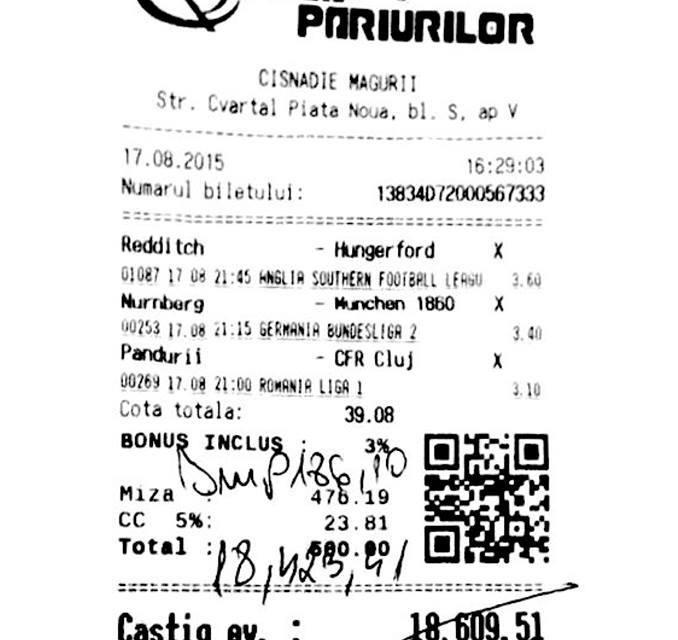 Bilete Pariuri : A mizat 500 ron pe 3 x-uri si a castigat !