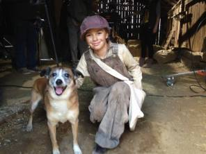 Haley (Playing Josephine, the dog's owner) poses with Mango (Scout)