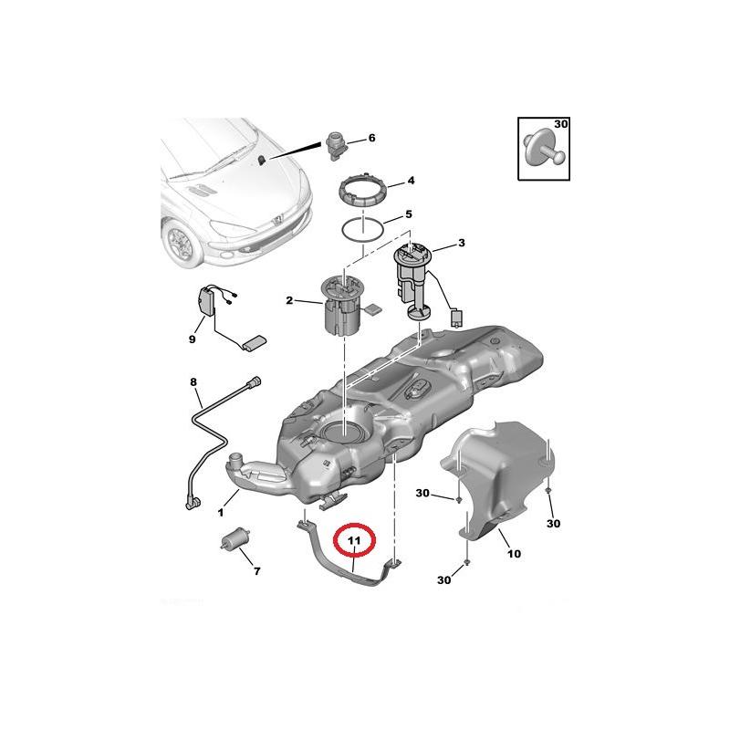 Fuel tank strap Peugeot 206 @ Hmk Auto