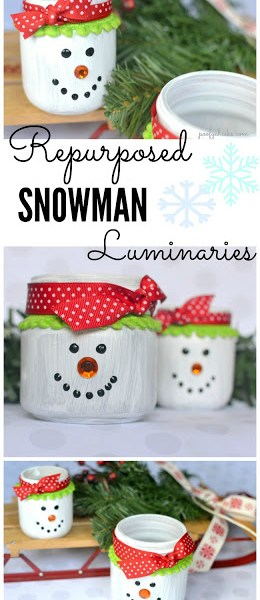 Snowman Luminaries – DIY Repurposed Glass Jar Craft