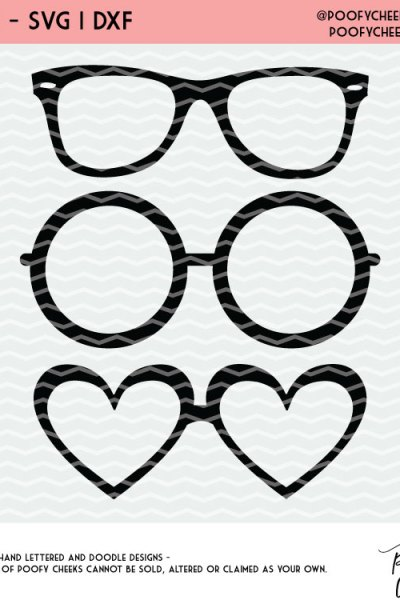 Glasses Cut File – Silhouette Cameo and Cricut Design – Free SVG, DXF and PNG
