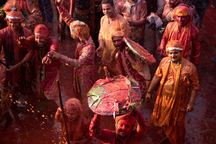 Men with shields for Lathmar Holi