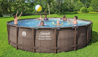 """Coleman Power Steel Deluxe Series 18' x 48"""" Metal Frame Round Above Ground Pool Set with Filter Pump, Ladder & Pool Cover"""