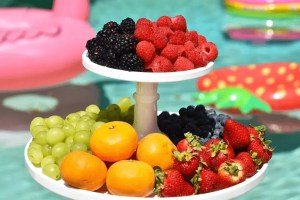 trays with fresh fruits