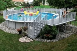 A Round Above-Ground Pool with Deck