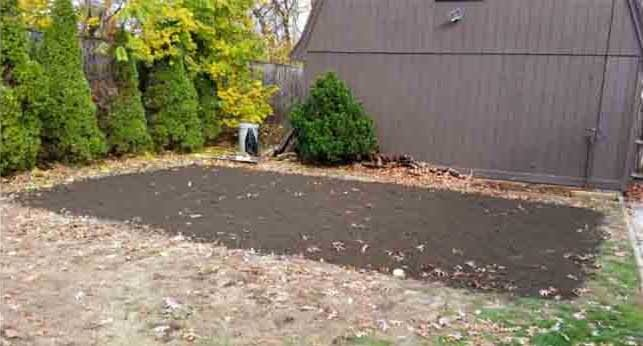 Yard after removing swimming pool
