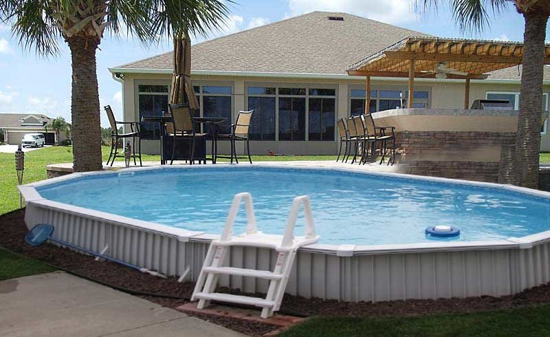 Above ground pool in the ground best semi inground pools for Best semi inground swimming pools