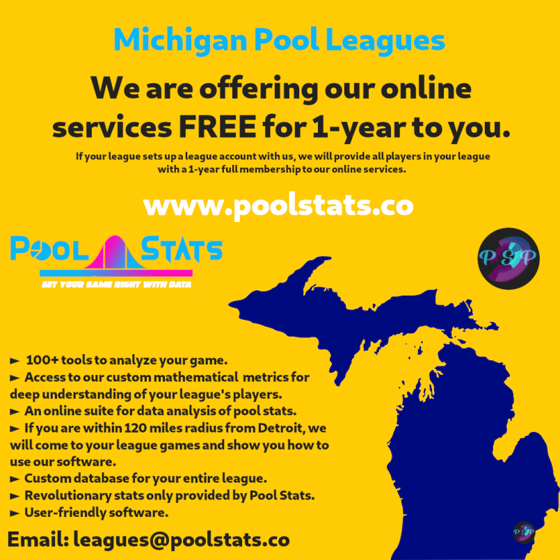 Pool Stats for Michigan Leagues for FREE
