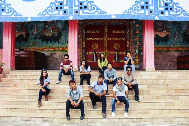 Hikers group photo at the Monastery