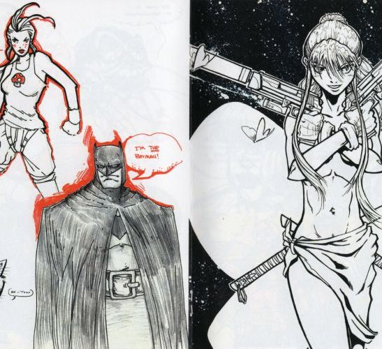 Sample artwork featuring Batman and other characters.