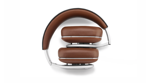 Bowers and Wilkins P9 Signature headphones fold for easy travel.