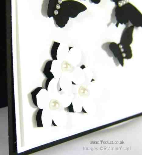 Stampin' Up! UK Demonstrator Pootles - Black and White Butterflies using Stampin' Up! Punches Flower Detail