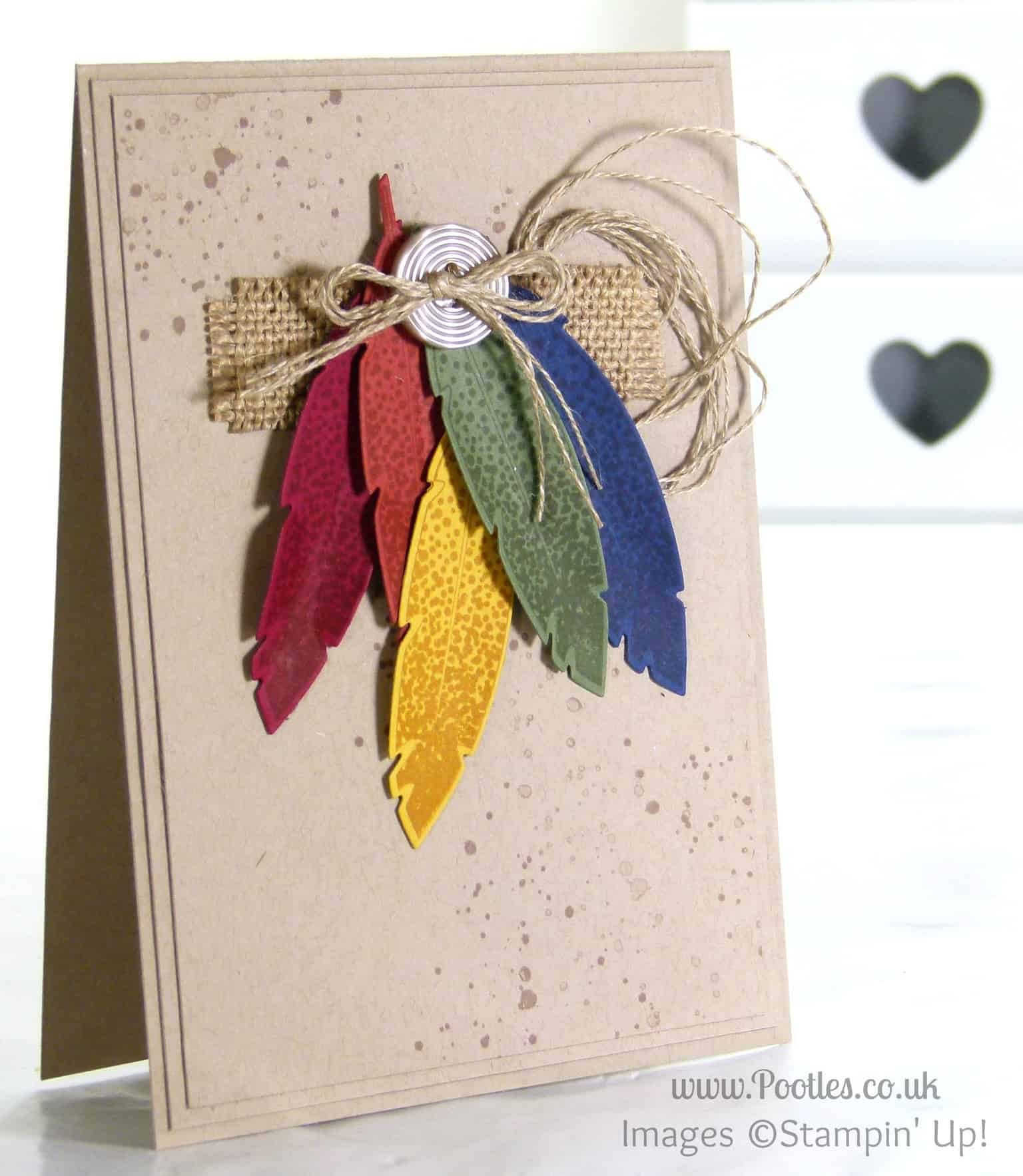 Autumnal Card Using Stampin Up Four Feathers