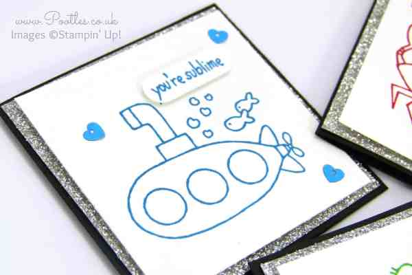 Stampin' Up! Demonstrator Pootles - You're Sublime Set of 3 x 3 Cards Submarine