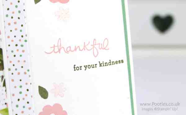 Stampin' Up! Demonstrator Pootles - Pretty Floral Card using Endless Thanks & Birthday Bouquet DSP Stamping Detail