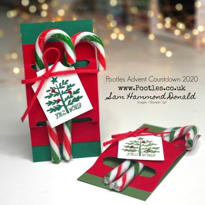 Pootles Advent Countdown 2020 Velveteen Paper Candy Cane Treat Holder