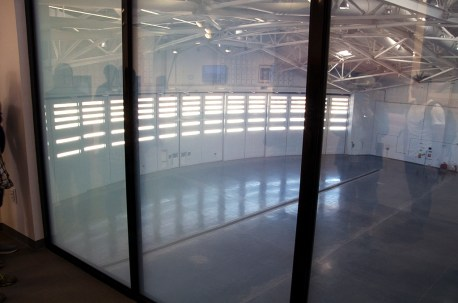 Electronically-opaquing Windows Overlooking the Hanger