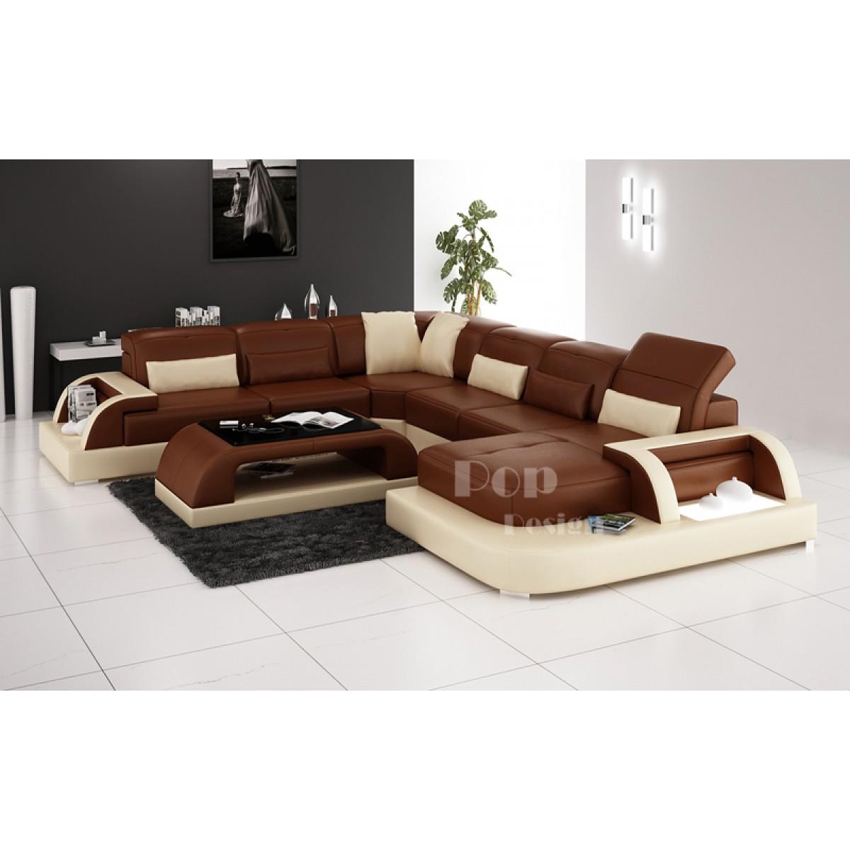 Canape Dangle Design En Cuir De Luxe Bolzano Modele Presente Couleurs Marron